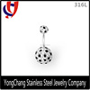 Black and white gems in two ball 316L stainless steel belly ring for body jewelry for wholesale