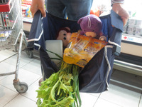 grocery cart shopping bag recyclable items recyclable products