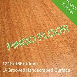 PG0621 Teak/Handscraped/U-Groove/10mm AC3 Flooring Laminate