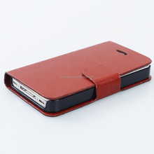 High Quality Folio Pu Leather Case with Cover for Apple iPhone 4 4s with Build-in Card Slot, Stand and Magnet Button
