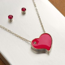 fashion hot red heart shaped earring necklace