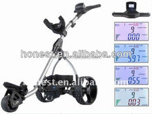 2015 Outdoor Leisure Golf Caddy golf caddy New Arrivals Electric golf trolley with colorful LCD display HME-2011