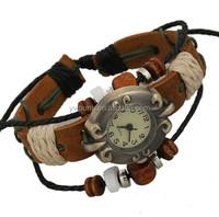 retro watch Wood Bead Multilayer Leather Bracelet Analog Watch Quartz girl's Wrist Watch