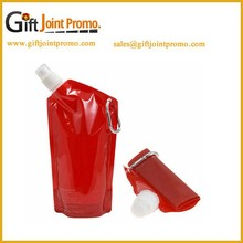 Customized Food Safety Grade PP Foldable Water Bags with Carabiner Foldable Water Bottles