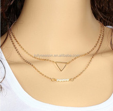 Woman's jewelry accessories pearl and triangle pendant necklace with gold plated chain