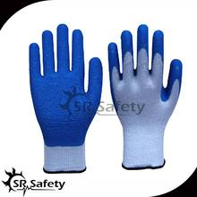 SRSAFETY 10 gauge polycotton liner coated latex on palm,crinkle finish/latex coated safety glove/safety grip gloves