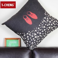 Modern Red Dancing Shoes Design Printed Cotton Cushion Cover Body Pillow Chair Seat Cushion Home Decorative Pillow Case