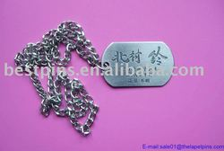 custom stainless steel metal dog/name tag with ballchain