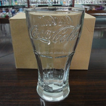 LYT136 soft drink glass tea glass cup hot sale embossed wholesale glass tumblers for 400ml