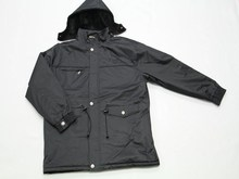 Polyester fabric and fleece lining men jacket with elastic band