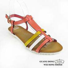 T-strap ankle strap buckle flat open toe summer women sandals ladies shoes