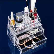Manufacturer supplies exquisite acrylic makeup organizer drawers clear cube cosmetic
