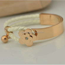 Fashion Rose gold flowerage zircon elastic wristband leather bracelet