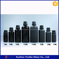 10ml 30ml 50ml 100ml glossy black frosted bottle with glass dropper