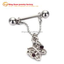 butterfly Nipple Shields With Gems Nipple Ring Body Piercing Jewelry