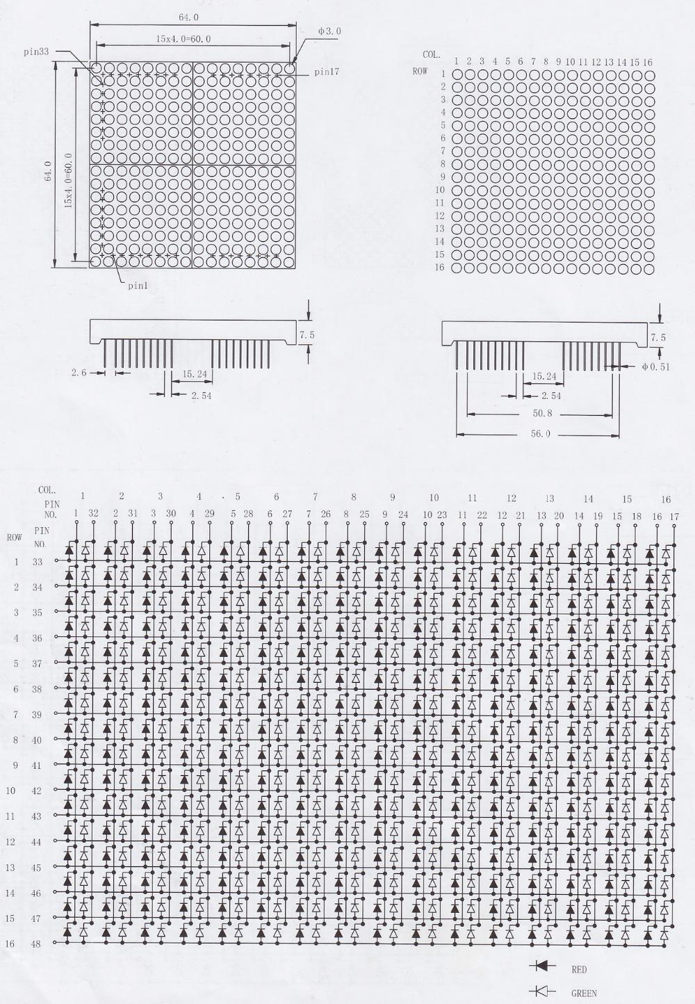 LED matrix 16x16 dot matrix display led matrix 16*16