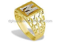 14k Yellow Gold crafted letter m ring with stylish cut-thru on the sides