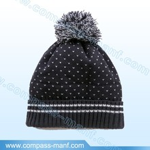 Winter chunky fleece lining pompom baby knit hat