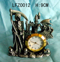 Pewter figure cheap custom decoration antique table clock