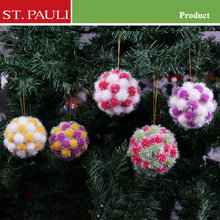 Low Price pompon polyfoam tree decoration bulk pom pom ornament