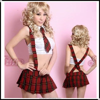 Chinese imports wholesale red plaid braces skirt sexy school uniform