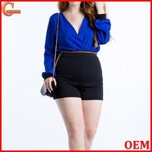 Surplice neck cuffed sleeves cheap plus size women clothing