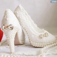 Ivory White Crystal Bow Wedding shoes Rhinestone Manual Lace platform High heel Pearl Bride Mary Evening Party pump pearls shoes