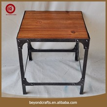 Competitive price high quality wood top square shape iron table