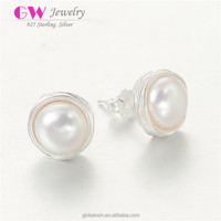 2015 New Arrival Fashion Jewellery Round Pearl Stud Earrings