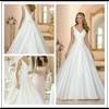 Silver V Neck A Line Floor Length Custom Make Long Formal Bridal Design Robe De Mariee HS072 satin wedding dressing gowns