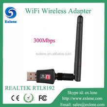 2015 new fast 300Mbps RTL8192 wireless networking card usb adapter with antenna