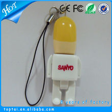 High speed plastic people shape usb pen drive with chain