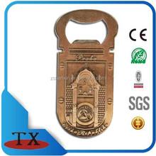 Cheap tourism souvenir antiquate bronze color bottle opener with magent backing