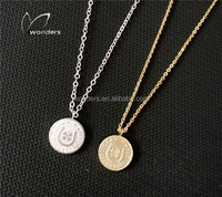 Wholesale Custom Fortune Charm Keep Me For Good Luck Four Leaf Clover Coin Lucky Pendant Necklace For Women