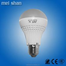 LED bulb 7W plastic body lamp with E14/E27/B22 lamp holder china manufatory