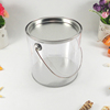 OEM clear plastic metal round tin bucket tin pail with lid & handle