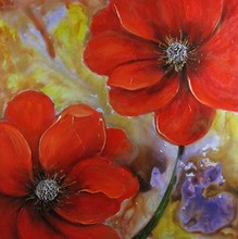 High gloss Home wall decoration shining red flower oil painting