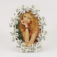 flower decoration in side of oval shape photo frame HQ081037-46