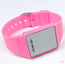 custom logo printed silicone flashing led watch with mirror dial