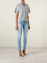 Hot Sale ODM Skinny Cropped Jeans With Light Blue Slim