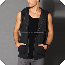 China manufacturer 100 cotton mens fashion sleeveless hooded sweatshirts wholesale for streetwear