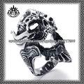 nueva moda de acero inoxidable 2014 stjz072 cráneo rey diseño anillos para los hombres