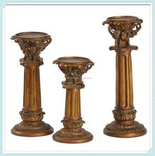 Decorative polyresin traditional pillar-shaped design candle holder
