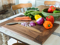scale fruit and vegetables olive wooden cutting board