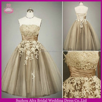 SW226 strapless gray tulle and lace tea length wedding dresses patterns 2014
