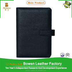 Top grade Black genuine leather notebook cover leather notebook with deboss logo on the cover