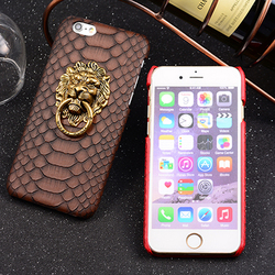 Case for iPhone 6,New Arrival Leather Sticker PU Case for iPhone 6 with Lion Head Ring Stand Function