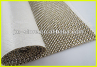 4mm Metal Aluminum Base & 24cm*40cm Clear Glue Base Hot Fix White A Grade Rhinestone Net Trimming For Garment & Shoes