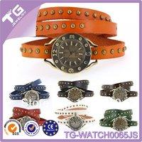 Fashion natural diamond srystal girls watches new leather watch ladies