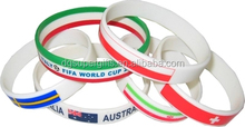 World Cup Silicone Soccer Fans Wristbands With National Flag